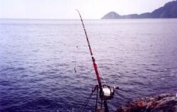 重磯釣的標準裝備100號的重磯竿PIN-